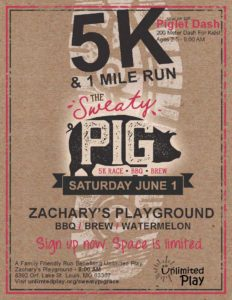 Sweaty Pig Flyer that includes details for the 5K race and 1 mile walk on June 1, 2019 at Zachary's Playground. Flyer is on a brown paper background with a white shoe print in the middle.