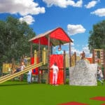 Computer rendering of playground showing children playing.