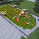 Computer rendering of playground from high angle.
