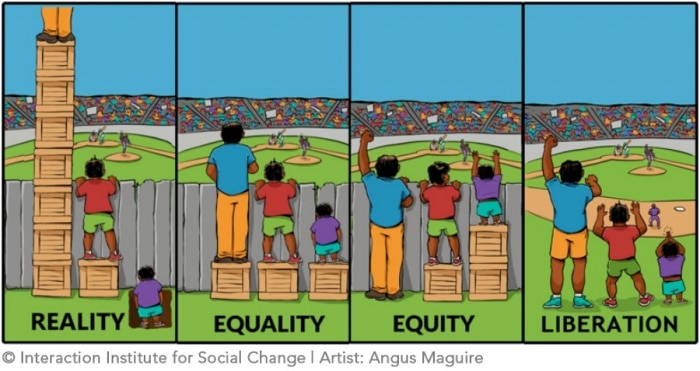 Three people of different heights stand on boxes to look over a fence to see a baseball game. From left to right is reality, equality, equity and finally liberation where the fence has been removed so there is no need to stand on boxes.